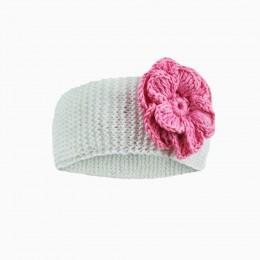 Детская вязаная повязка с цветком  ROSA/белый/ лето