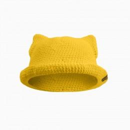 Детская вязаная панамка c ушками CAT /жолтый/ лето